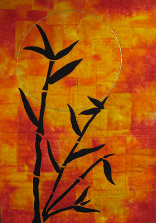 Image - orange background with black bamboo applique. Oriental Sunset